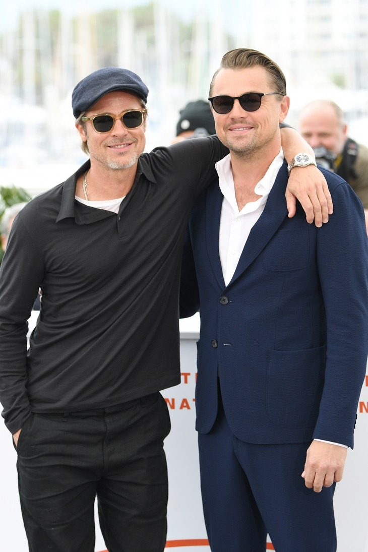 """CANNES, FRANCE - MAY 22: Brad Pitt and Leonardo DiCaprio attend thephotocall for """"Once Upon A Time In Hollywood"""" during the 72nd annual Cannes Film Festival on May 22, 2019 in Cannes, France. (Photo by Daniele Venturelli/WireImage)"""